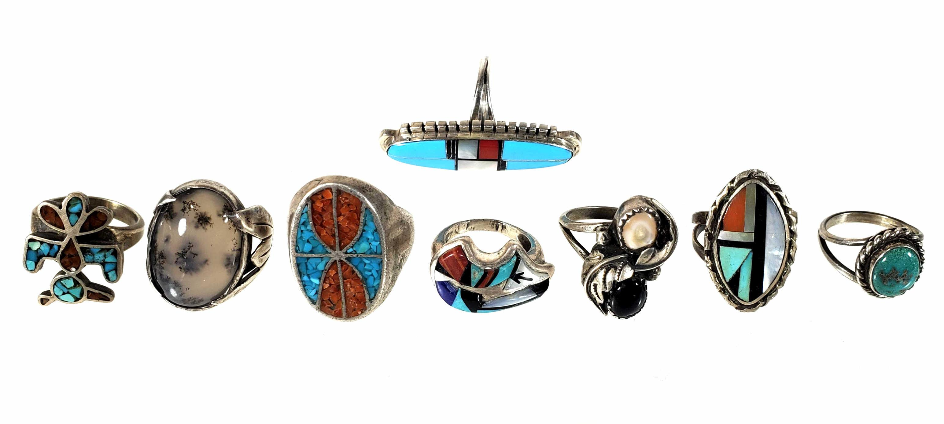 (8) Southwestern Sterling Silver & Mineral Rings