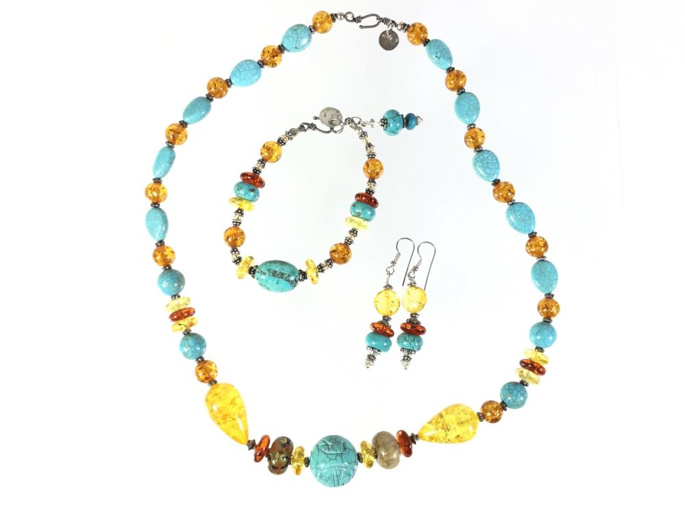 Sterling Silver Amber & Turquoise Necklace, Bracelet, Earrings