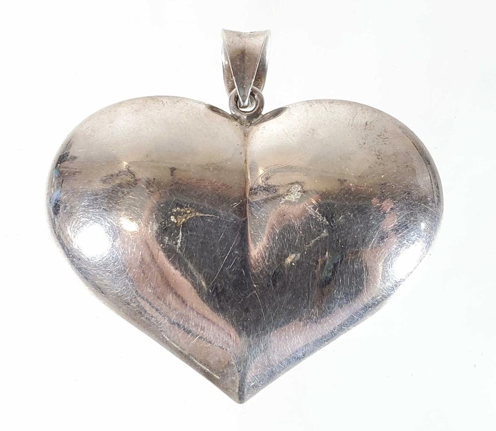 Sterling Silver Cat Brooch, Heart & Mineral Pendant