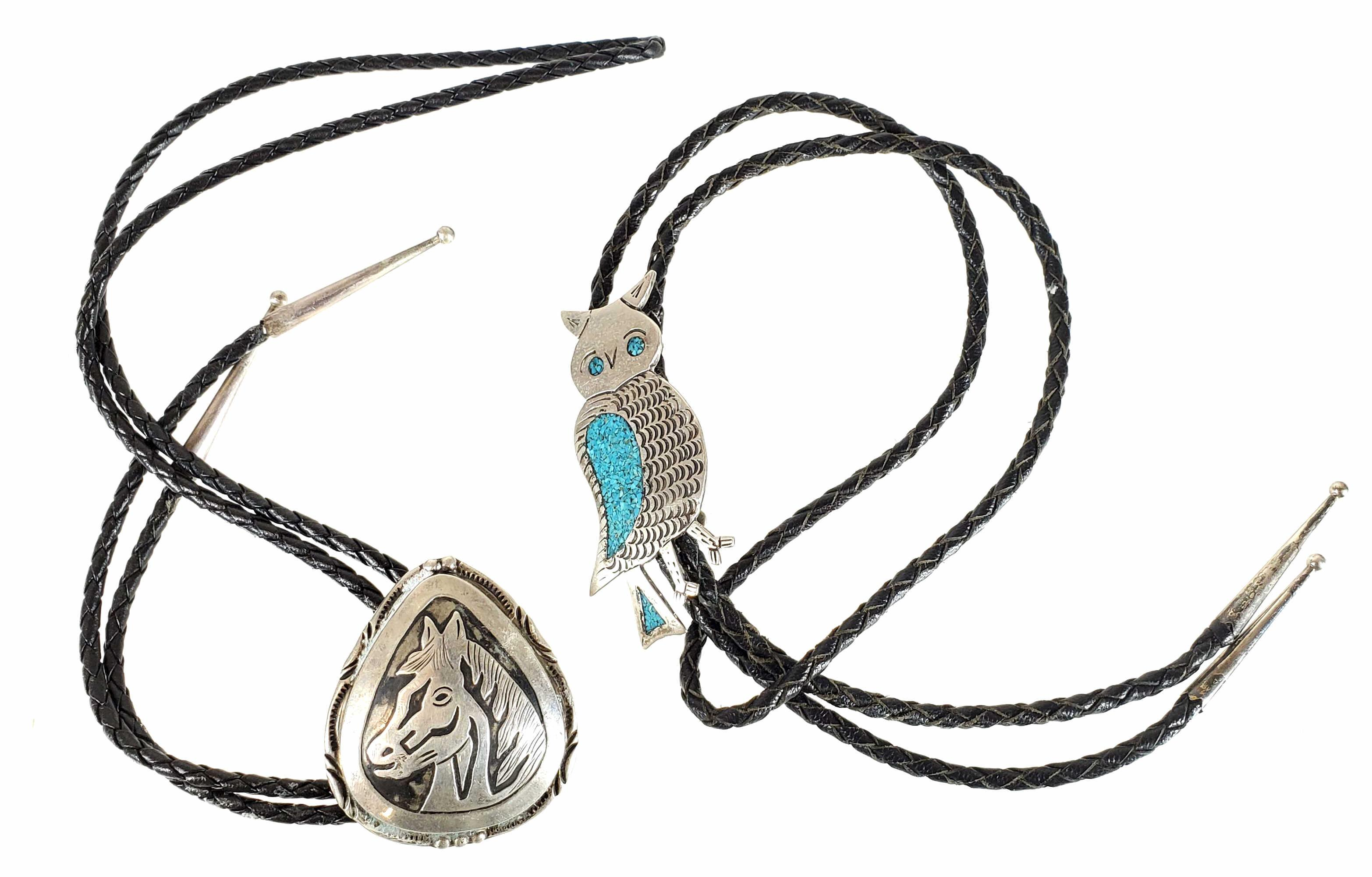 (2) Sterling Silver Horse & Owl Bolo Ties
