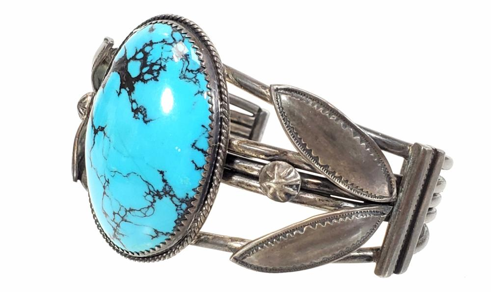 Native American Sterling Silver & Turquoise Cuff