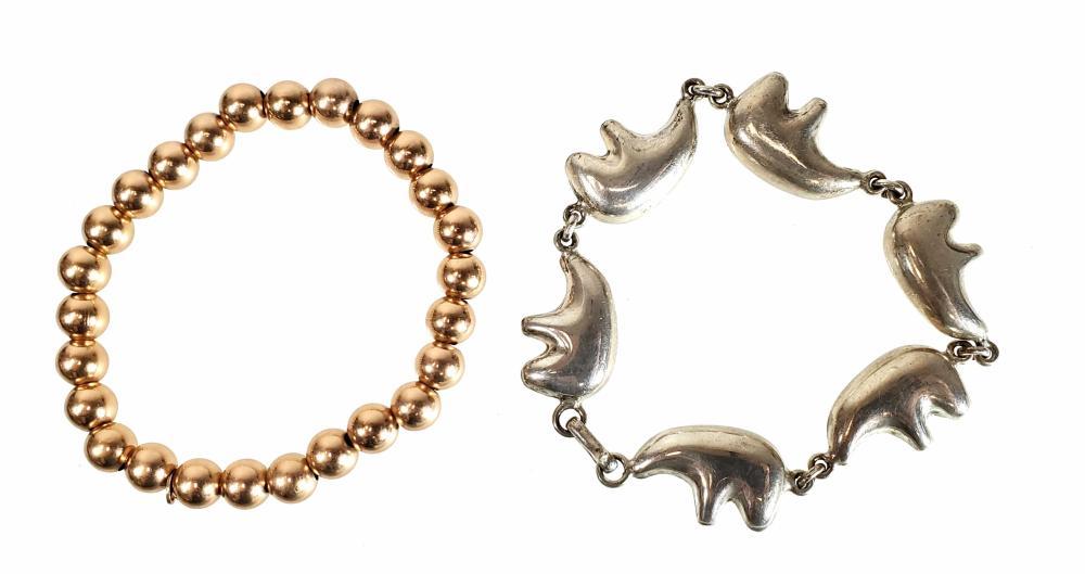 (2) Sterling Silver Fetish Bear & Bead Bracelets