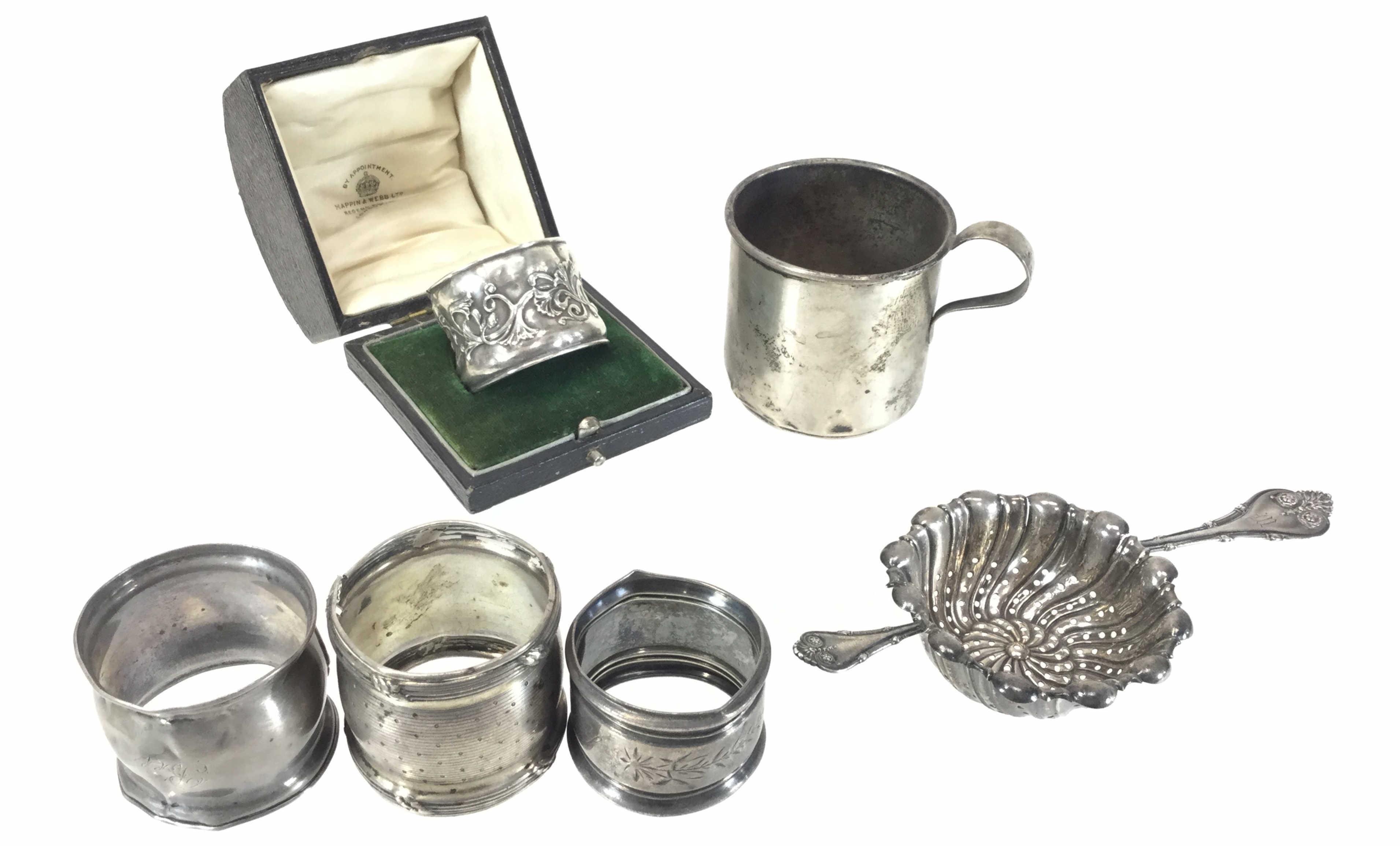 Vintage Sterling Napkin Rings, Tea Strainer & Mug