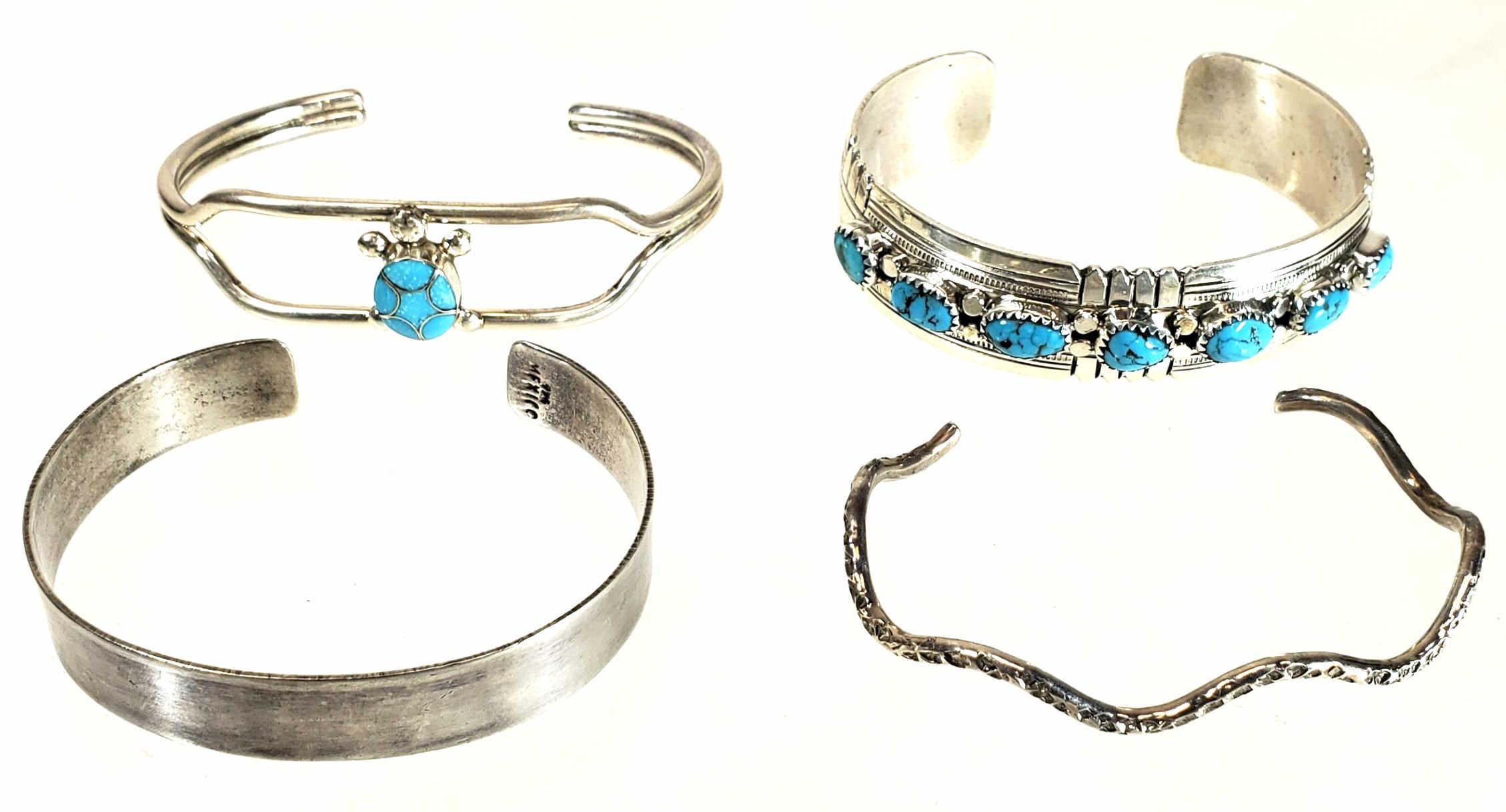(4) Native American Sterling Silver Bracelets
