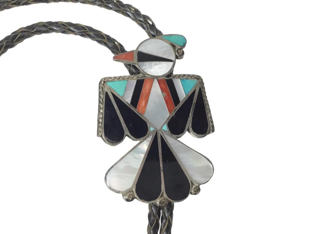 Zuni Inlaid Sterling Silver Bolo Tie