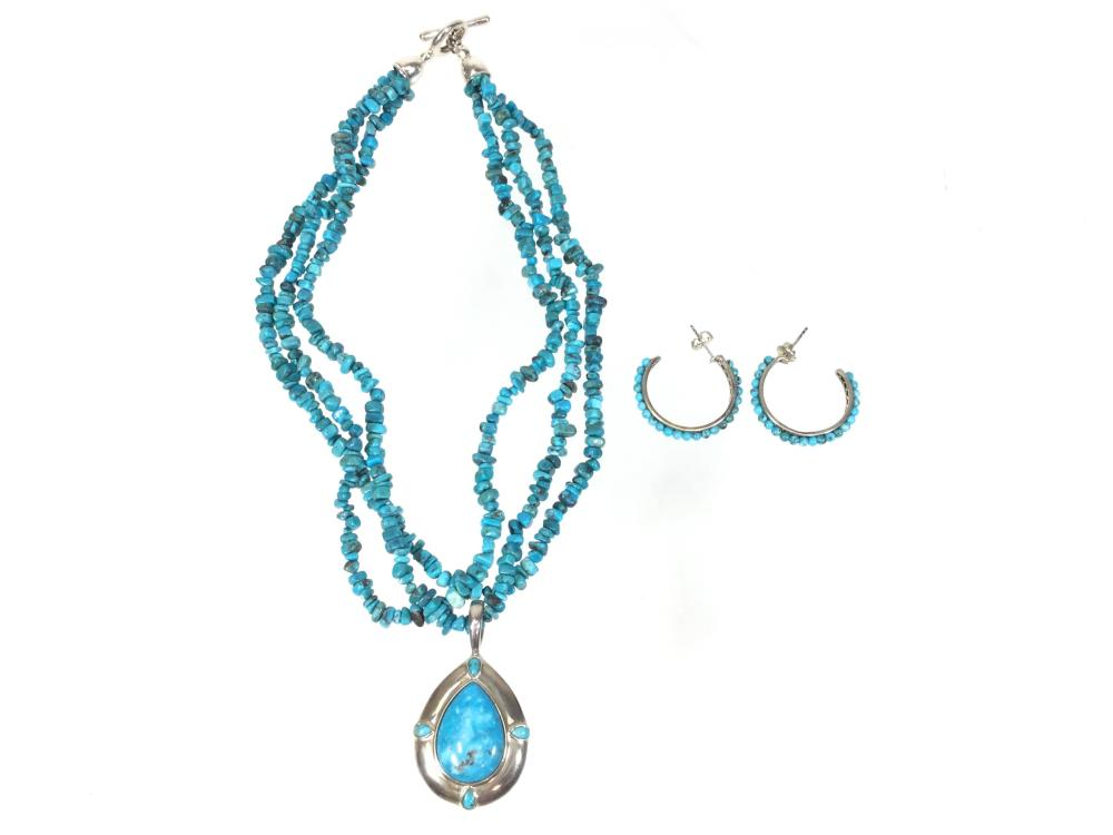 Sleeping Beauty Sterling Silver & Turquoise Necklace, Earrings