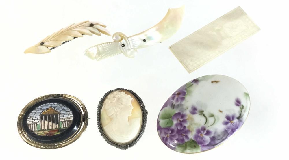 (6pc) M.O.P. Pins, Micro Mosaic & Cameo