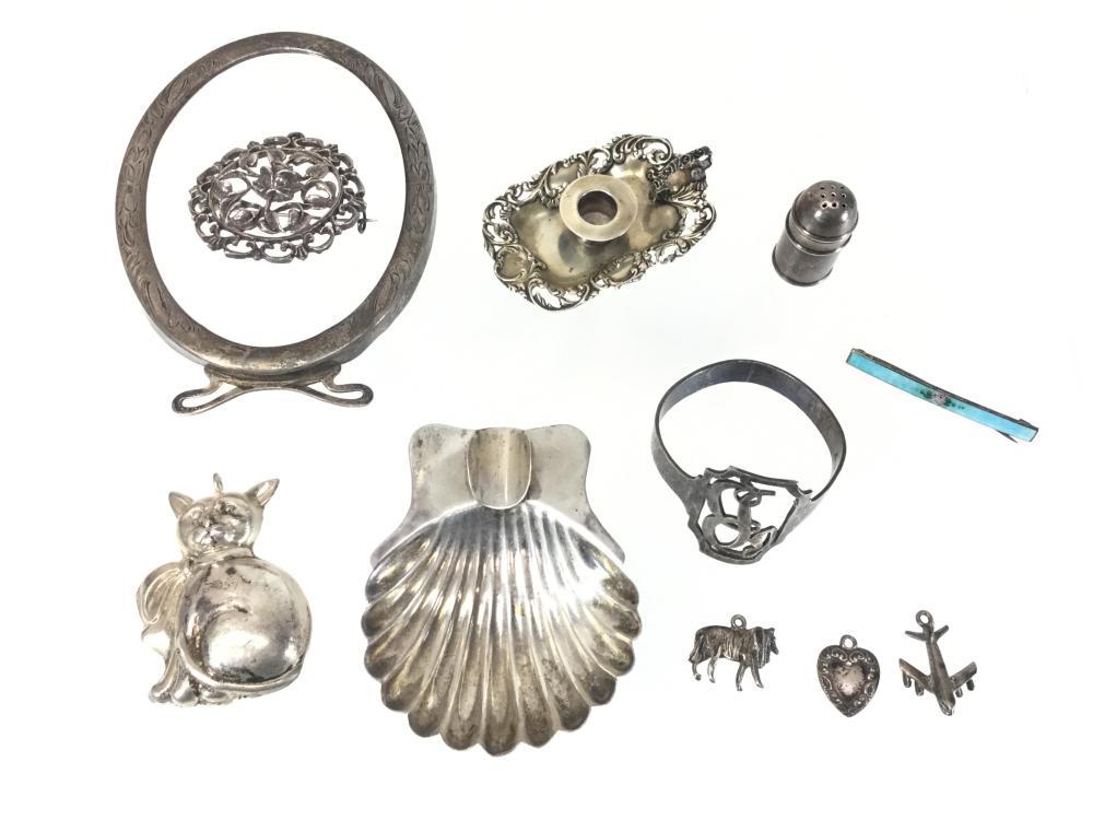 Sterling Silver Pendants, Shaker, Shell Tray, Napkin Ring