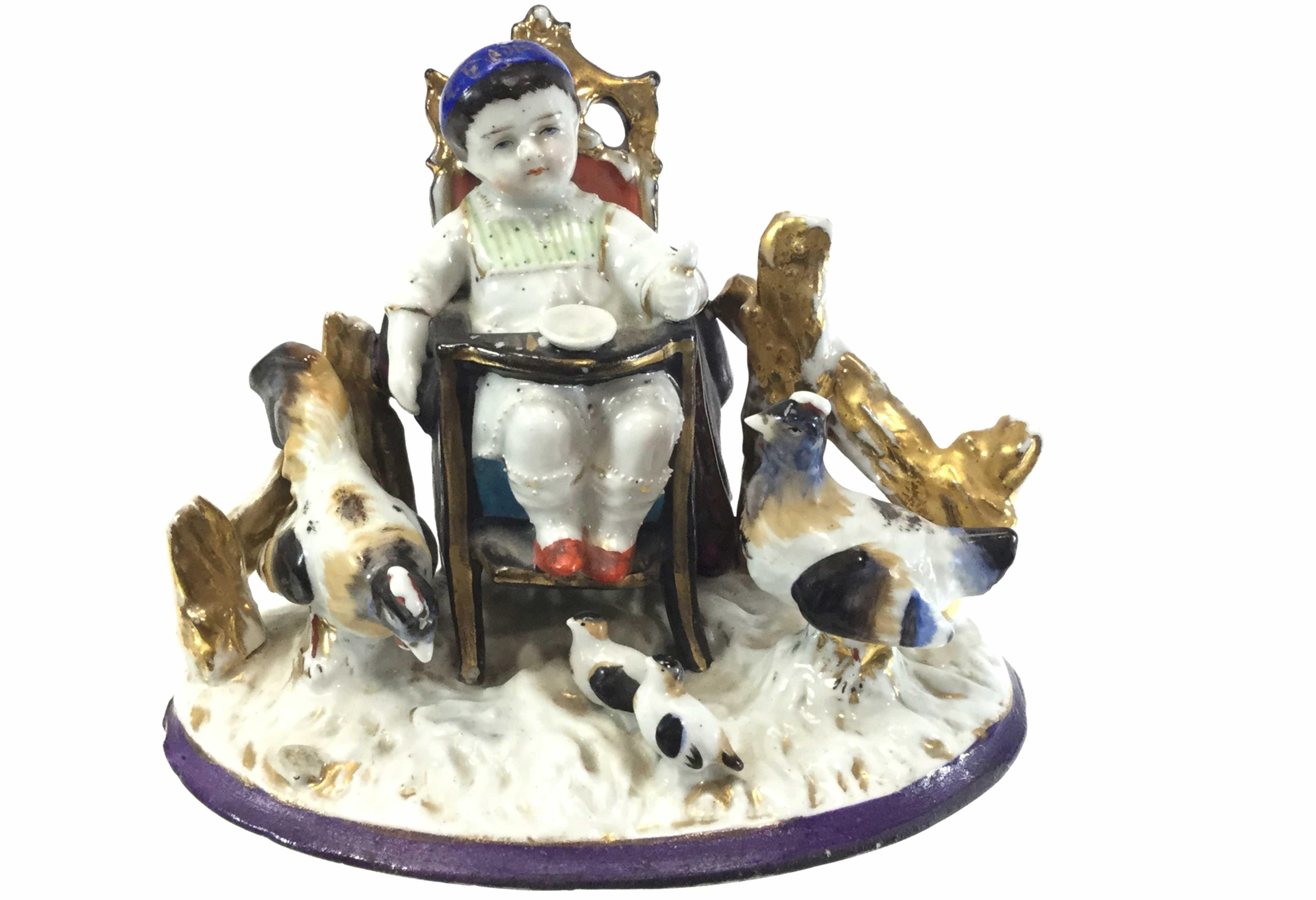Royal Staffordshire Child w/ Roosters Porcelain
