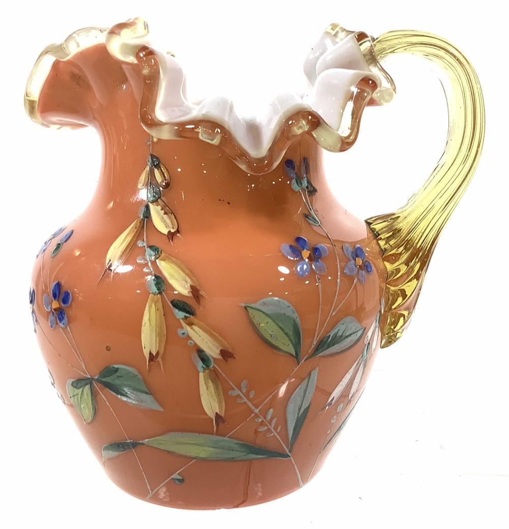 c.1870 Overlay Glass Pitcher, Enamel Decoration