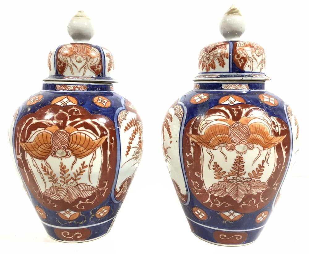 Pair Antique Imari Japanese Ginger Jars