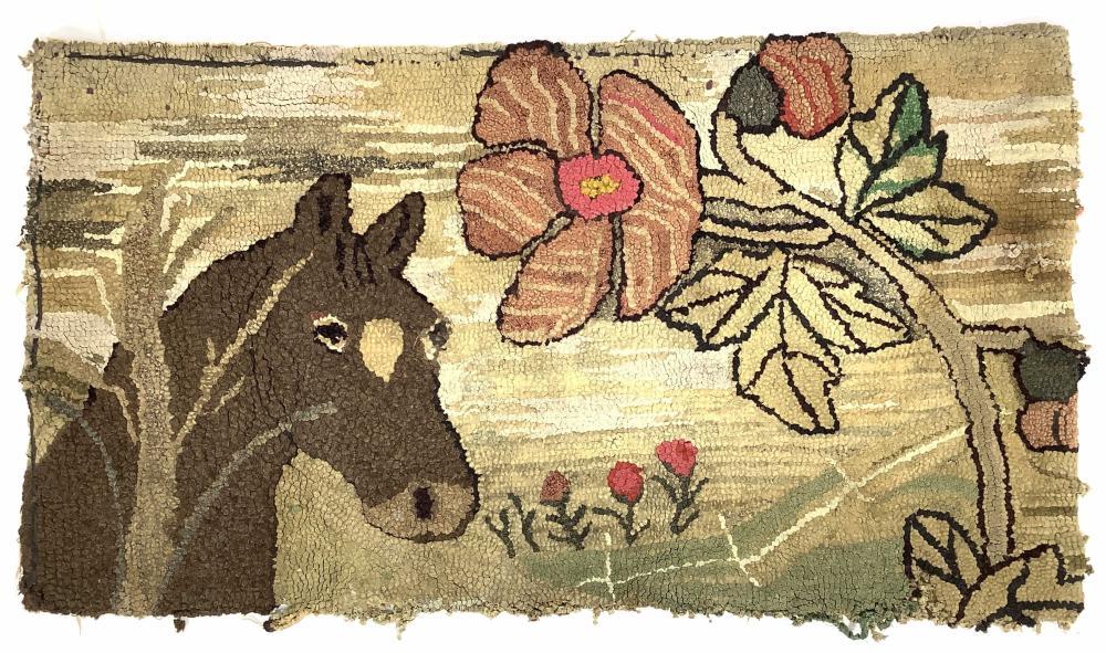 Vintage Hooked Horse & Floral Rug
