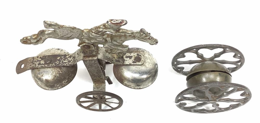 Antique Metal Push Pull Toy Paul Revere & Bell Toy
