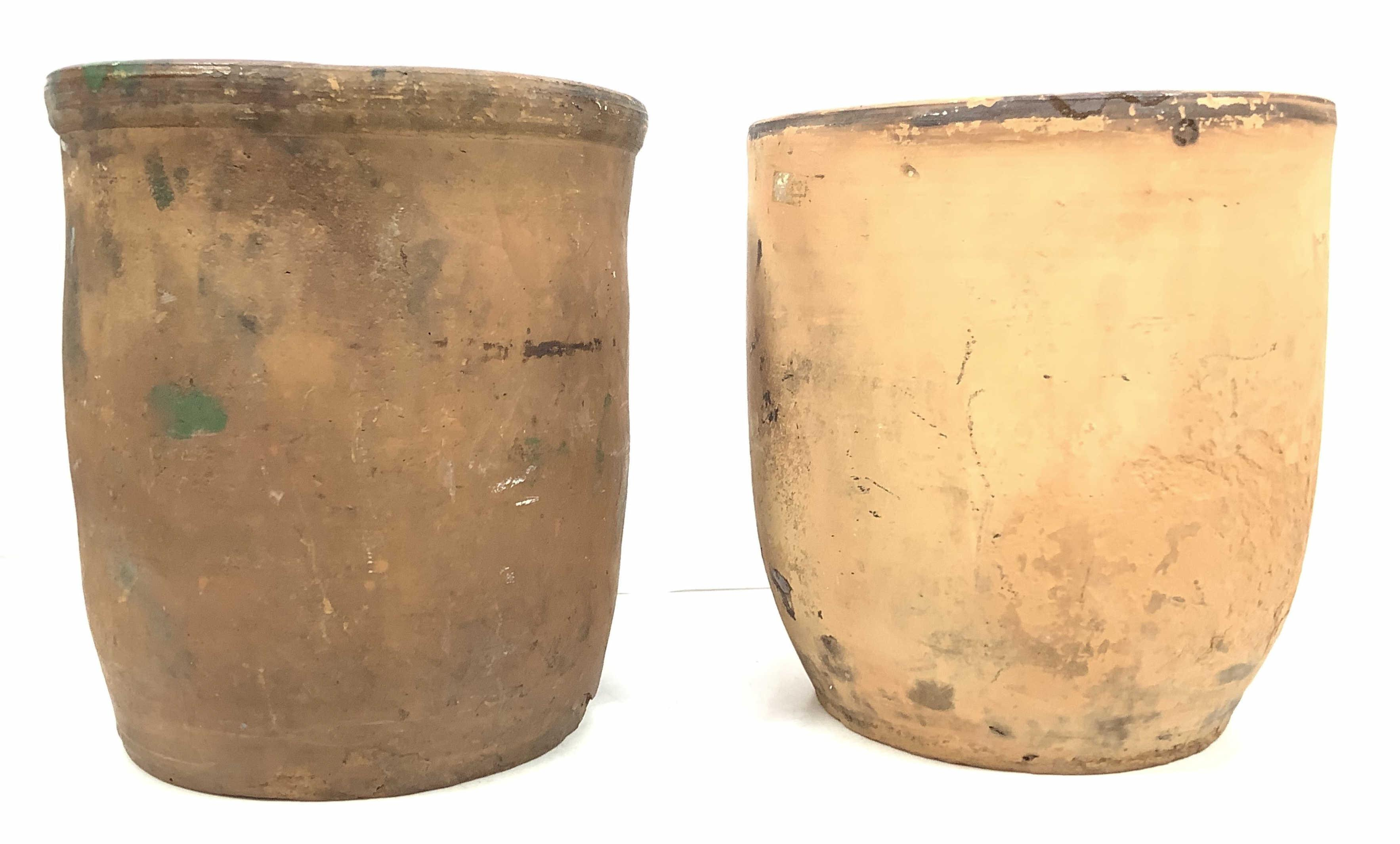 (2pc) Antique Redware Storage Pots