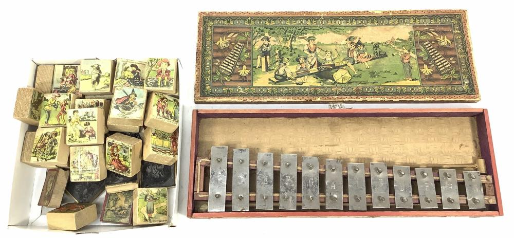 Vintage Toy Xylophone & Lithograph Blocks, Stamps