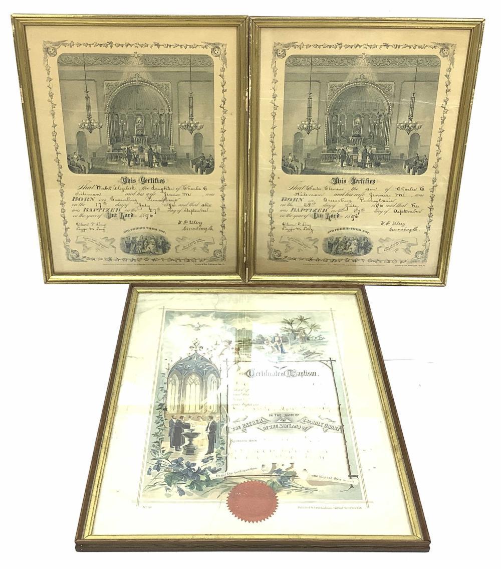 (3) Vintage Framed Documents, Baptism, Birth