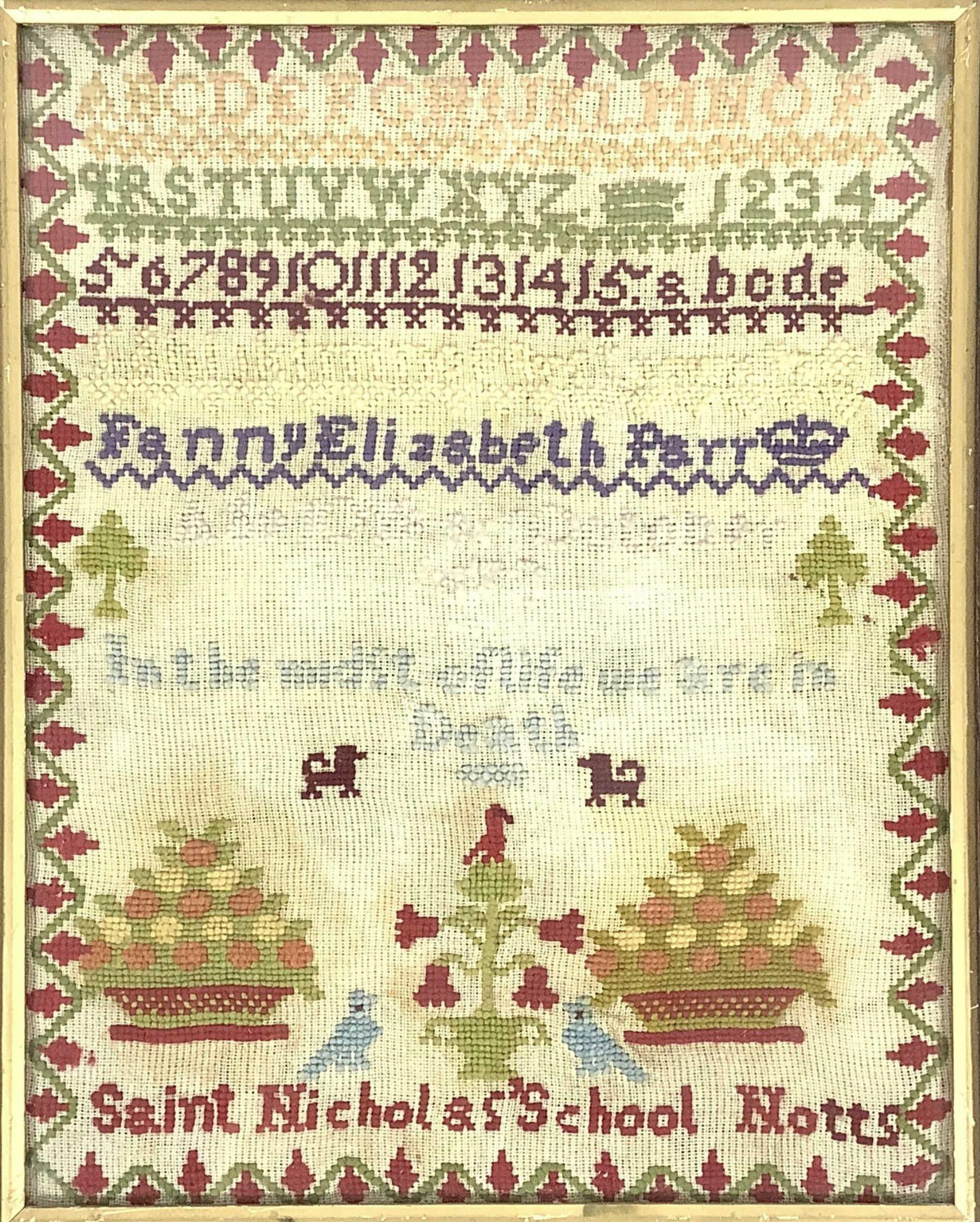 Antique Framed English Needlepoint Sampler