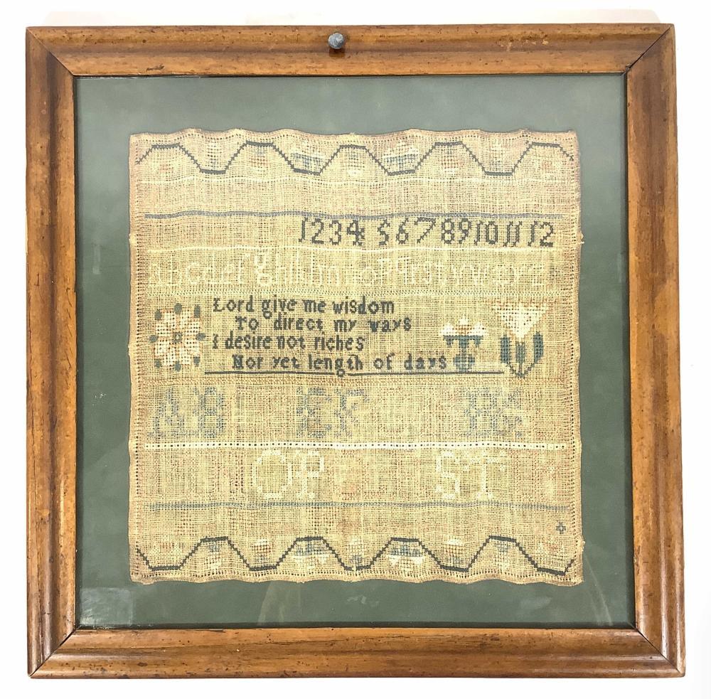 Antique Framed Alphabet Sampler, Ann Woods