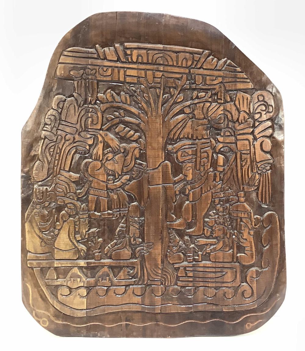 Hand Carved Aztec Motif Wood Plaque