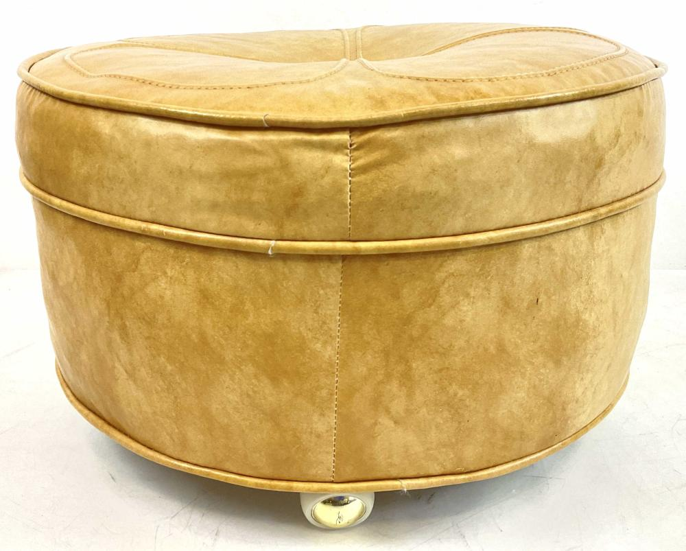 Traditional Rolling Leather Ottoman