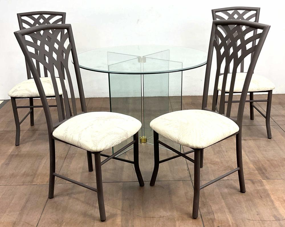 (5pc) Transitional Beveled Glass Dining Group