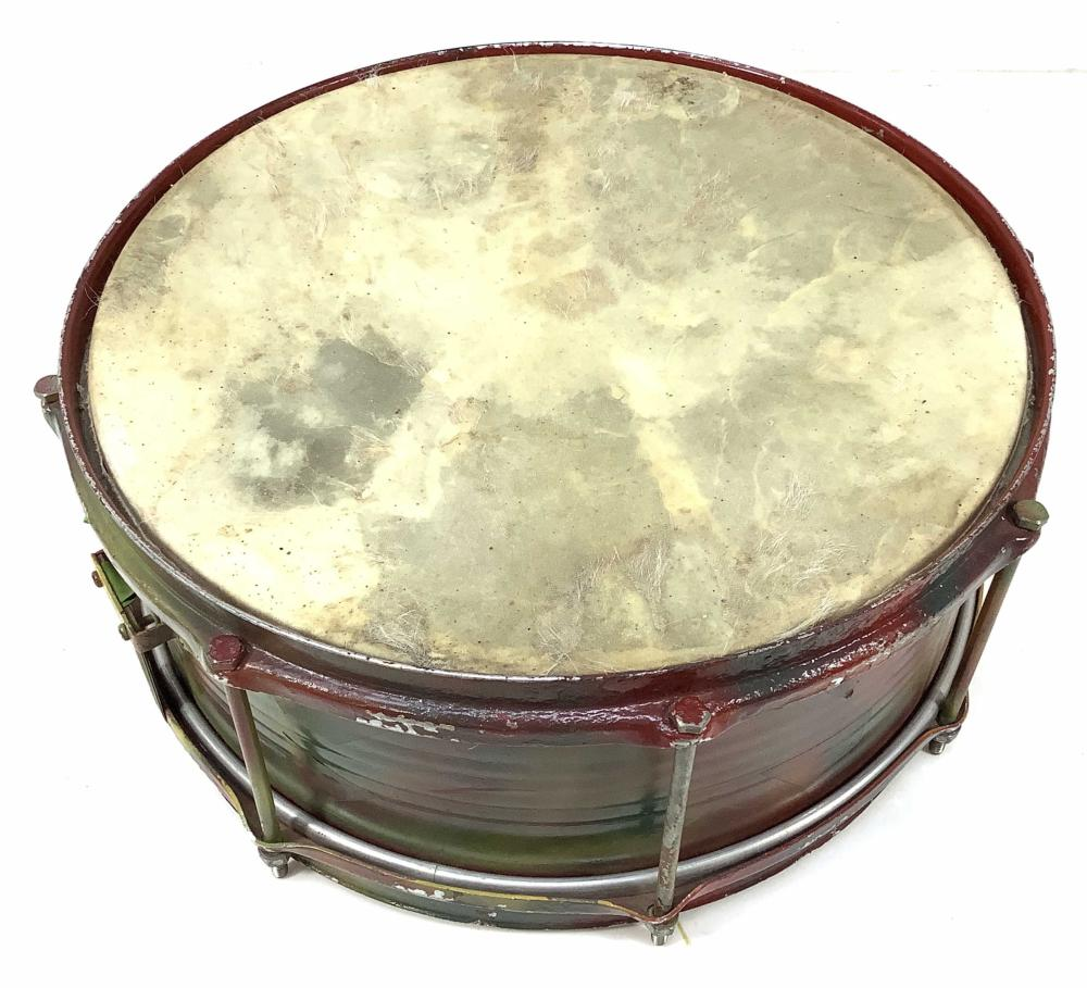 Vintage Spray-painted Snare Drum, Animal Hide