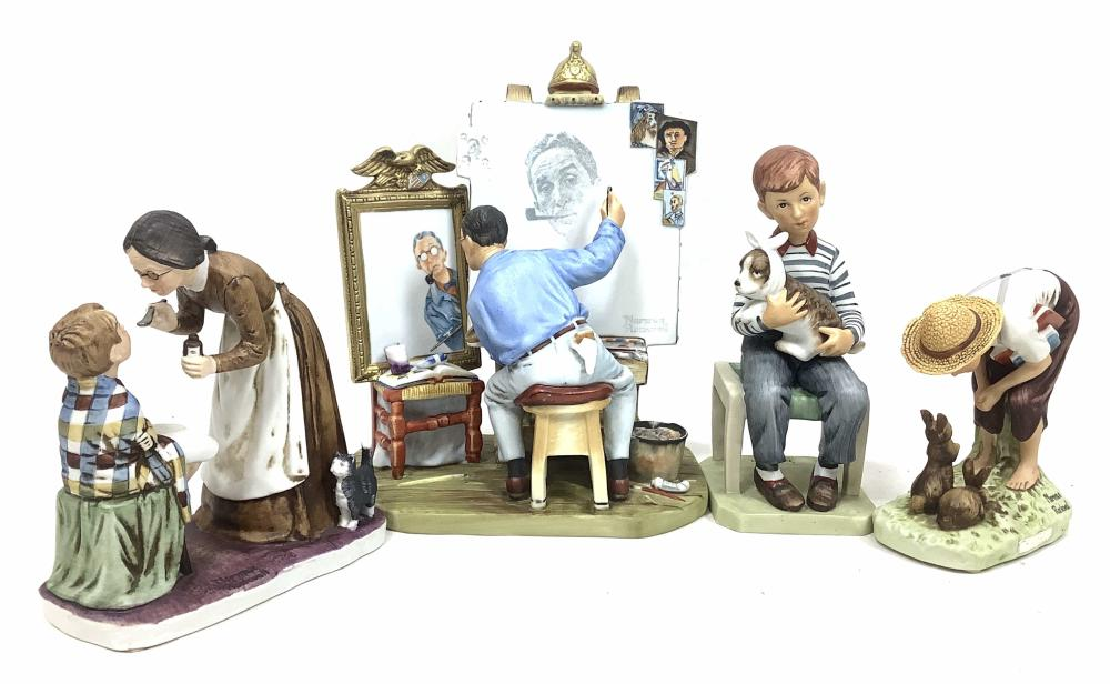 (4pc) Norman Rockwell Sculptures