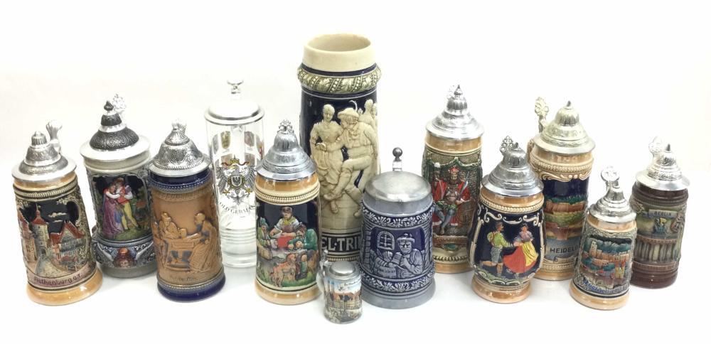 (13) Vintage German Beer Steins, Commemorative