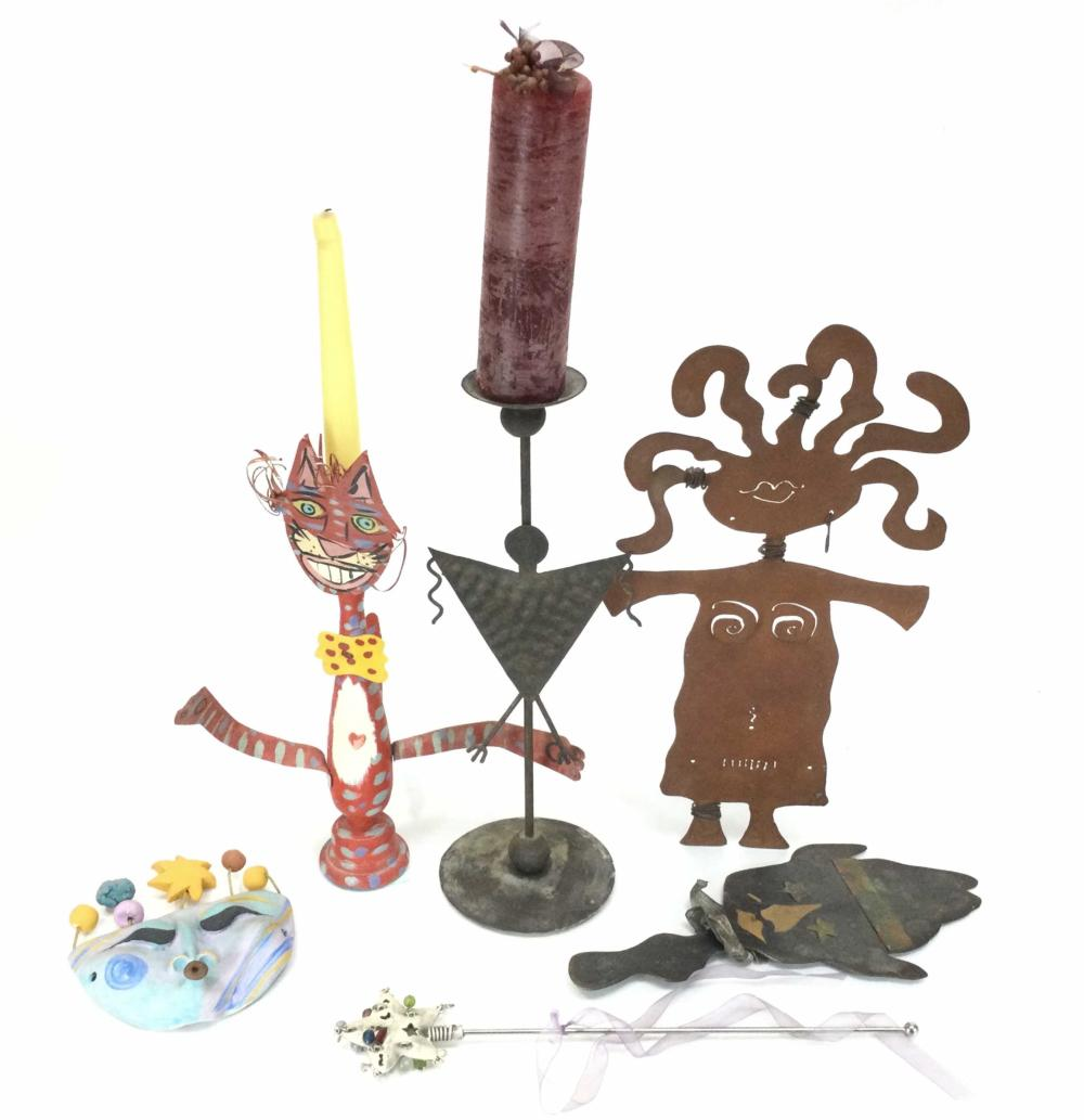 (6pc) Metal Art Candle Holders, Wall Decor