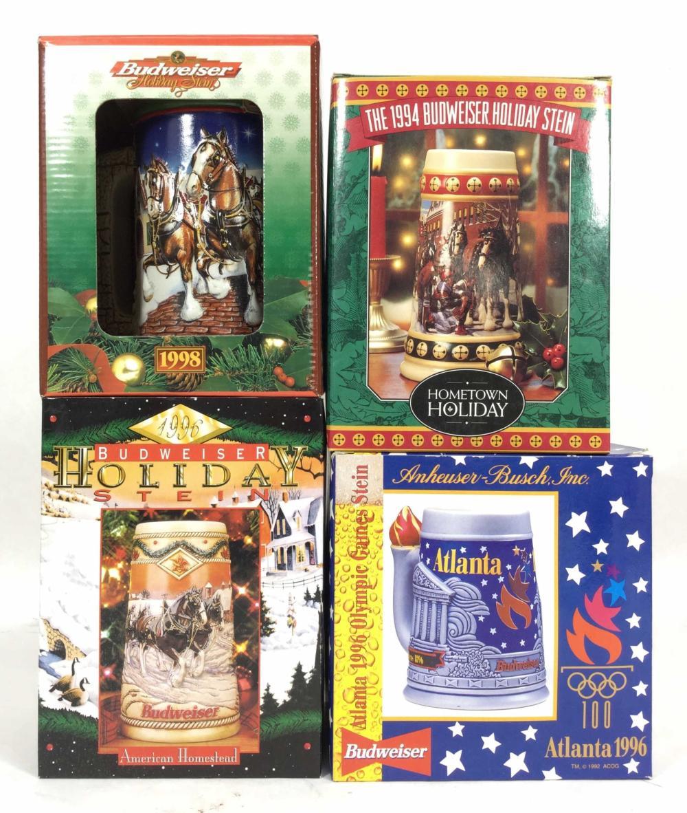 (4) Budweiser 1996-1998 Holiday Steins