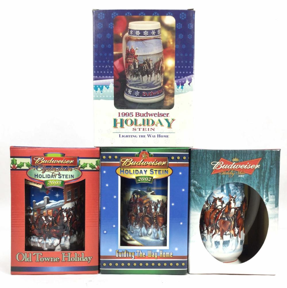 (4) Budweiser 2002- 2007 Holiday Stein