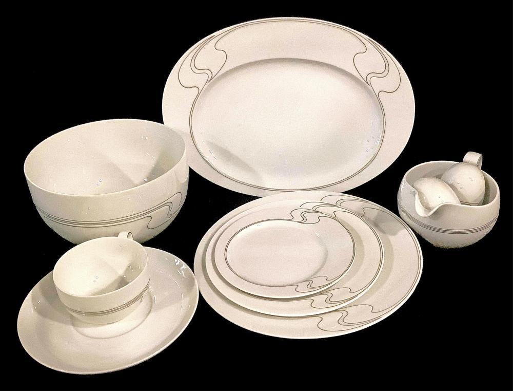 """(61pc) Rosenthal """"White Gold"""" Pattern Dishware"""
