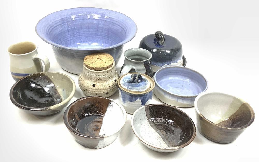(17pc) Studio Art Pottery Bowls, Mugs & Dish