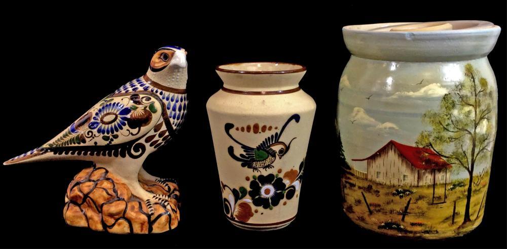 (3) Handcrafted Pottery & Avian Sculpture