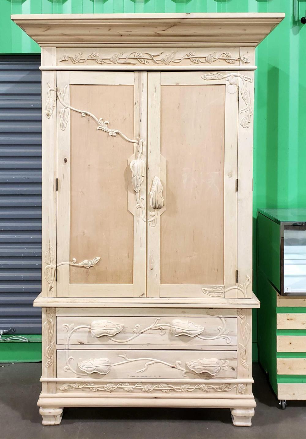 Art Nouveau Inspired Raw Pine Entertainment & Storage Cabinet