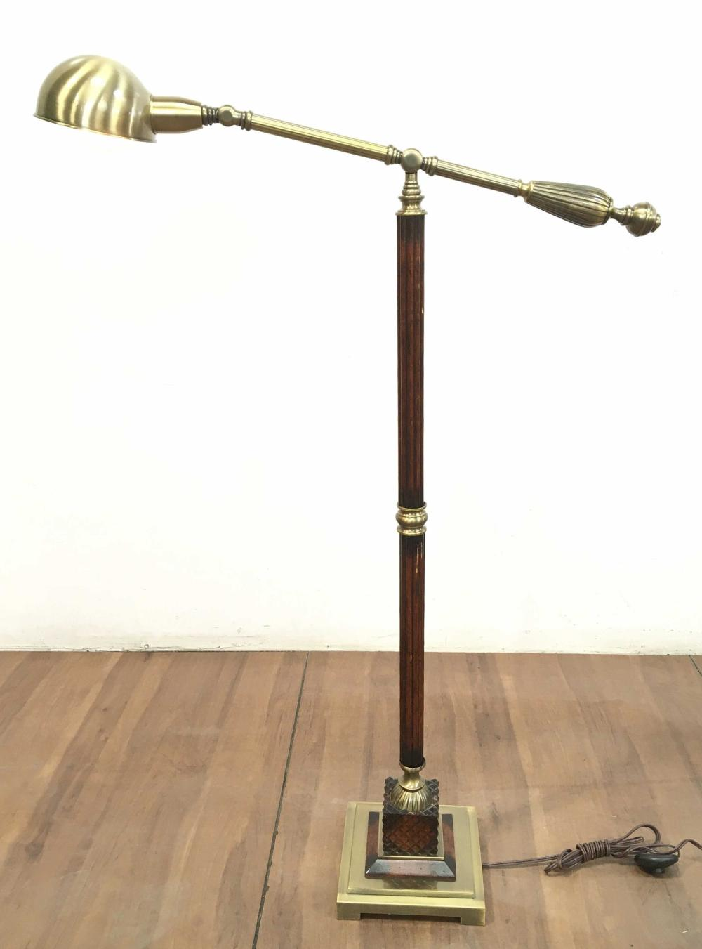 Traditional Style Brass & Wood Floor Lamp