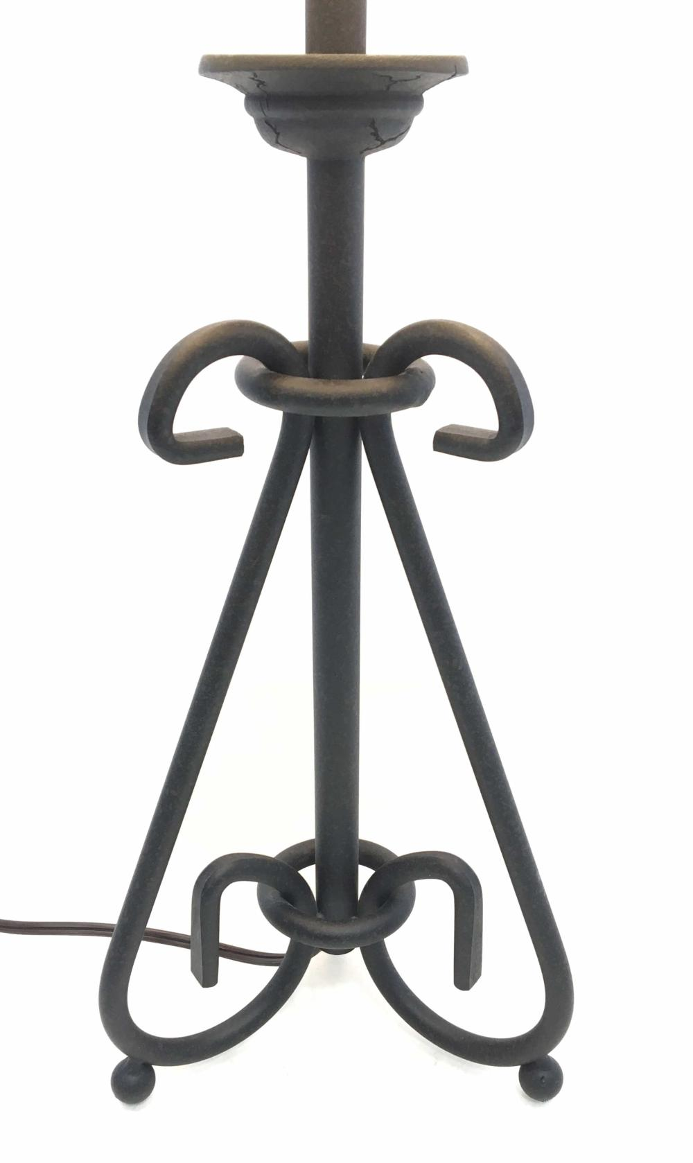 Iron Scroll Rustic Lamp w/ Faux Tole Opaque Shade
