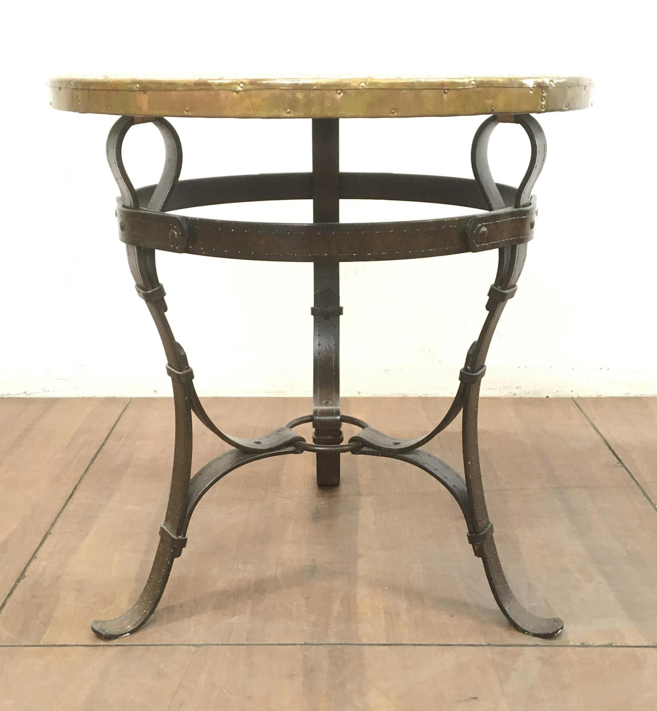 Rustic Heavy Strap Iron & Hammered Copper Top Table