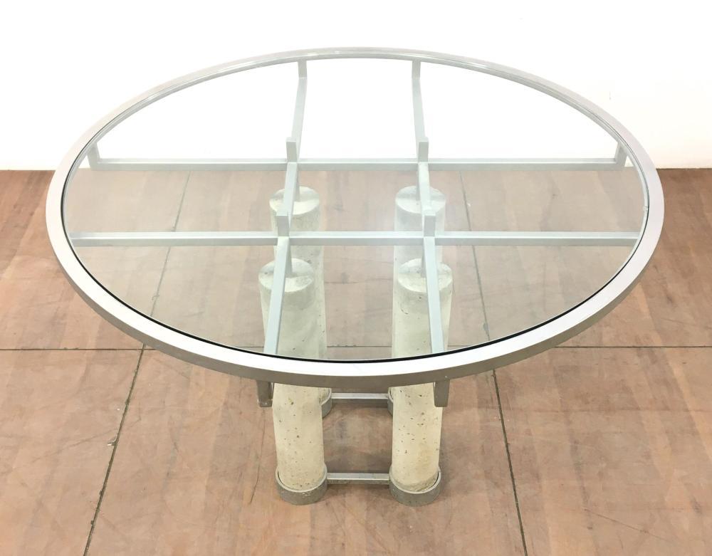 Modern Steel Frame, Concrete Pillar Inset Glass Dining Table