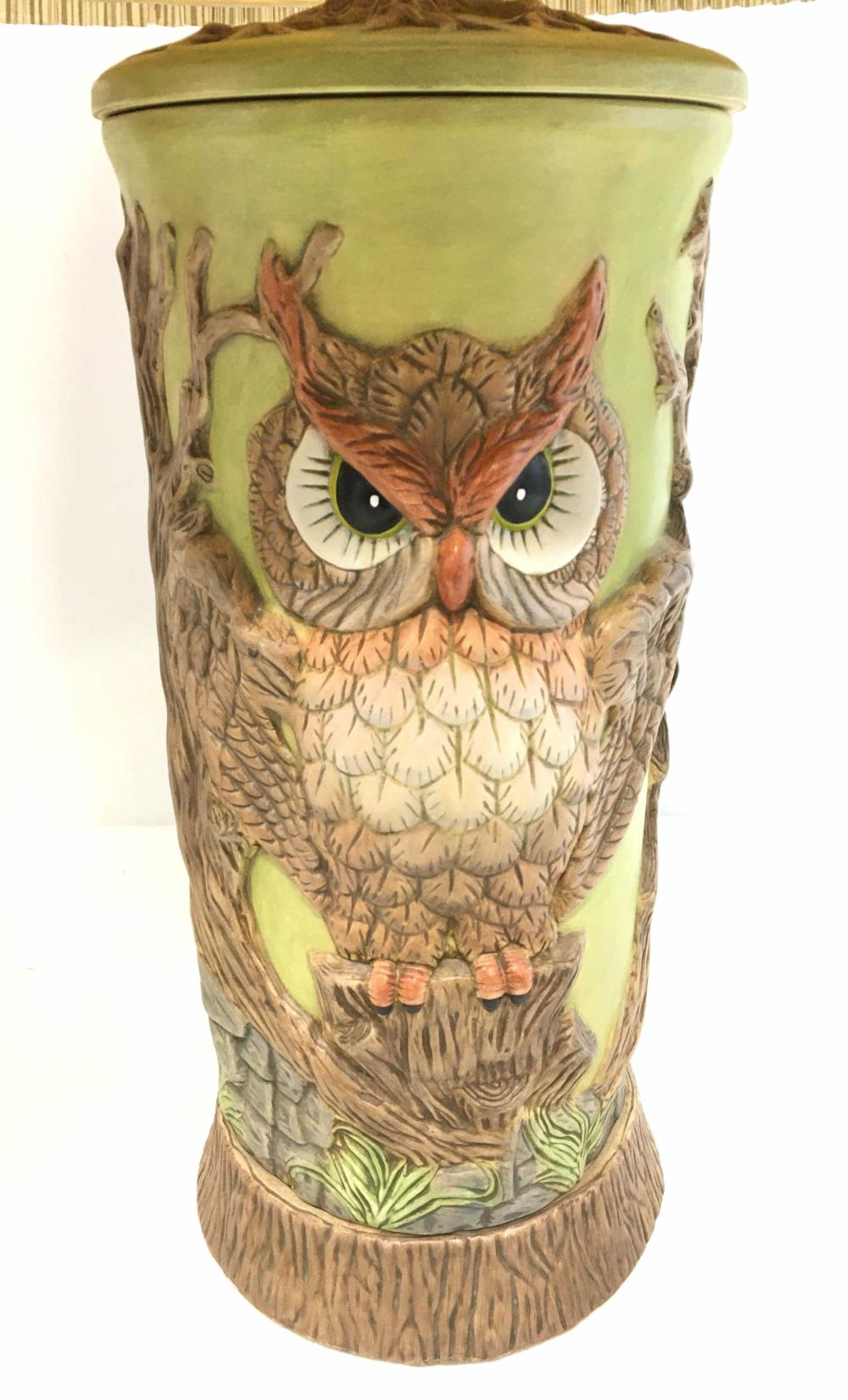 Pair Of Ceramic Base Owl Table Lamps