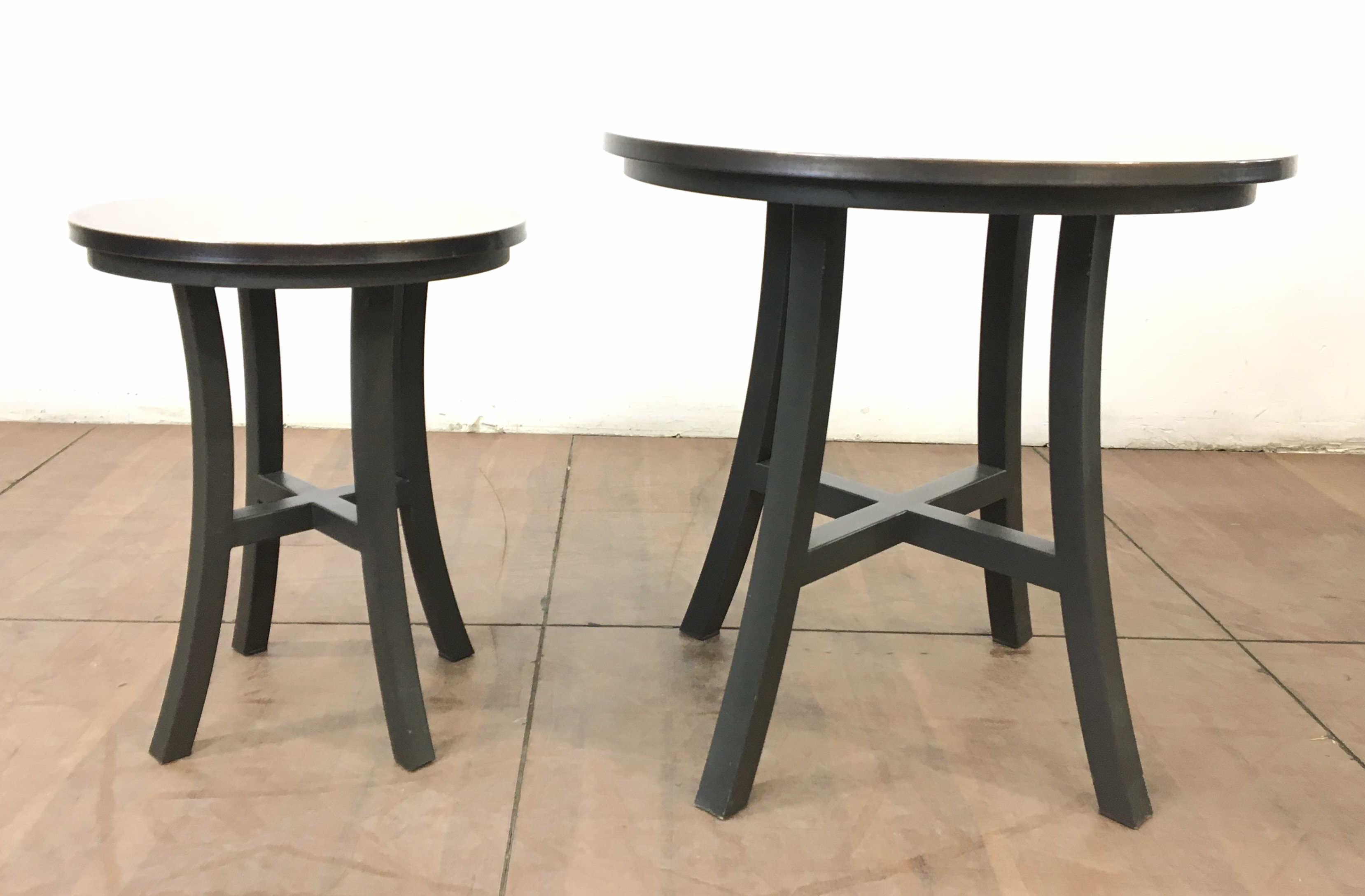(2pc) Transitional Style Rustic Metal & Copper Top Tables