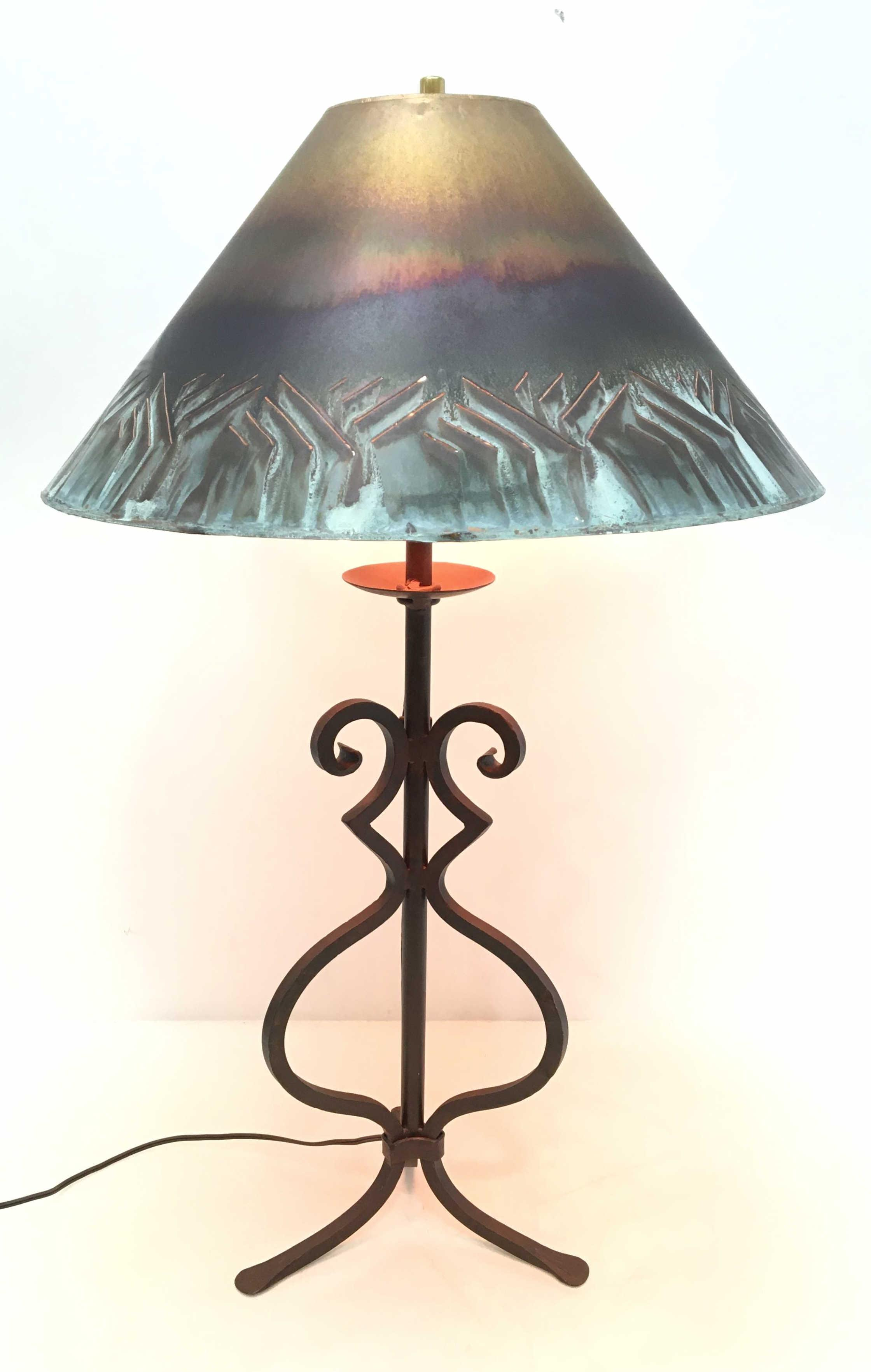 Southwestern Style Copper & Iron Table Lamp
