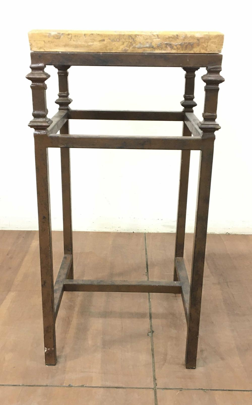 Southwestern Style Rustic Iron & Granite Pedestal