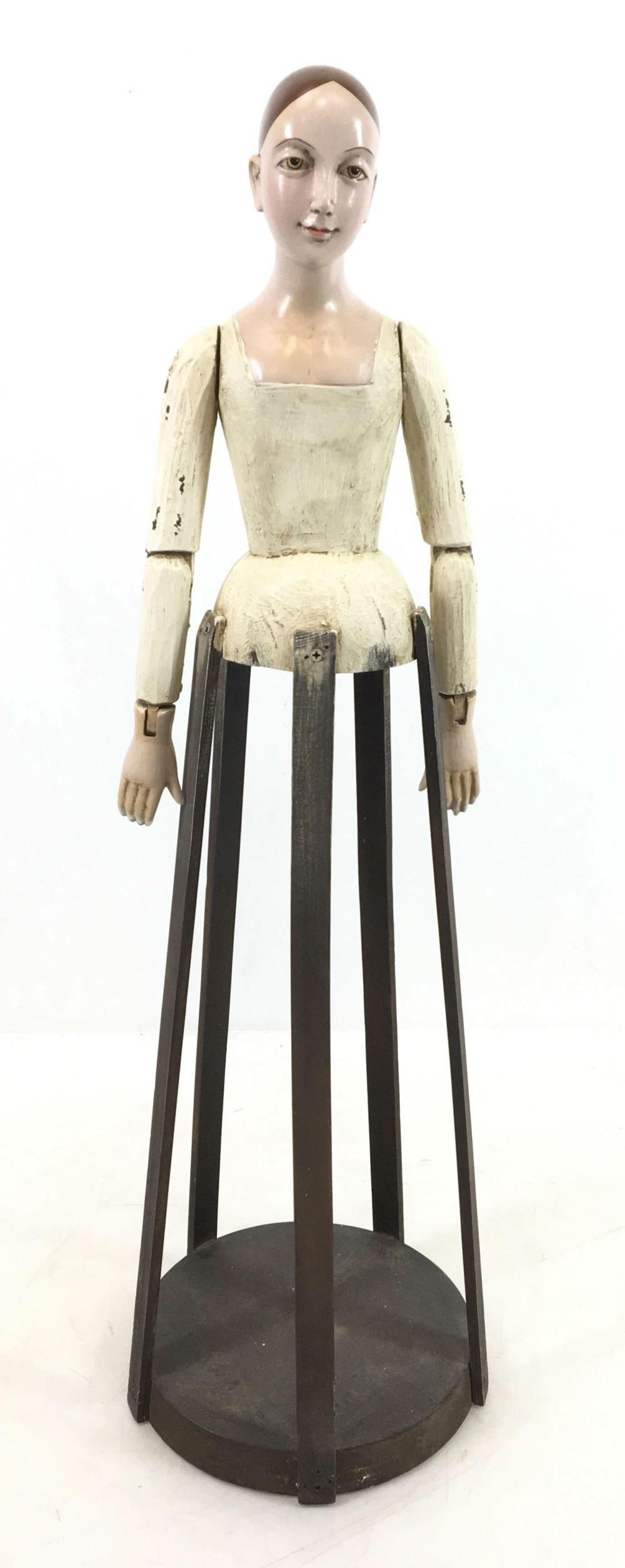 Antique Painted Wood Doll Dress Form