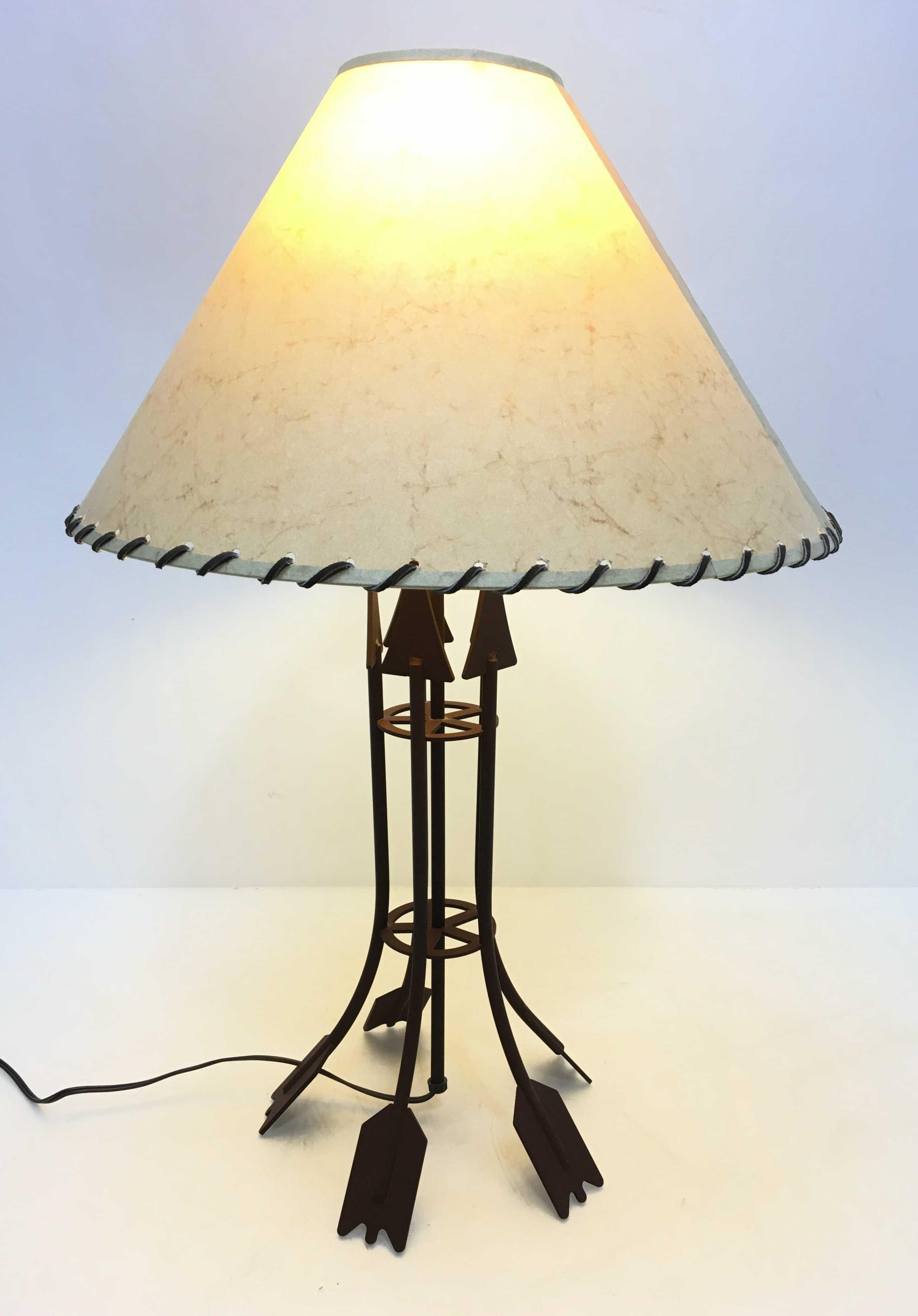 Southwestern Style Metal Base Table Lamp