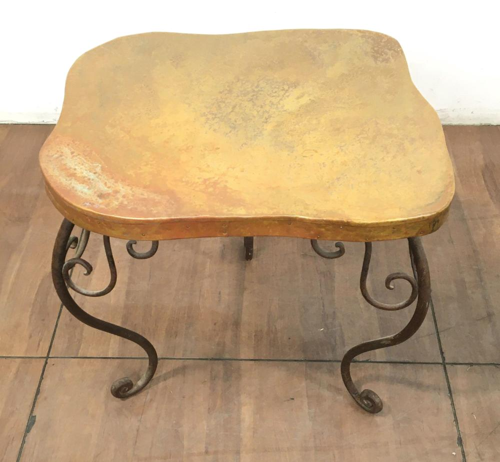 Iron Base w/ Copper Top Accent Table