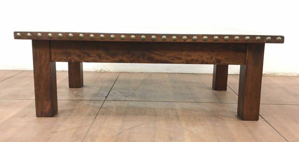 Rustic Nailhead Walnut Coffee Table