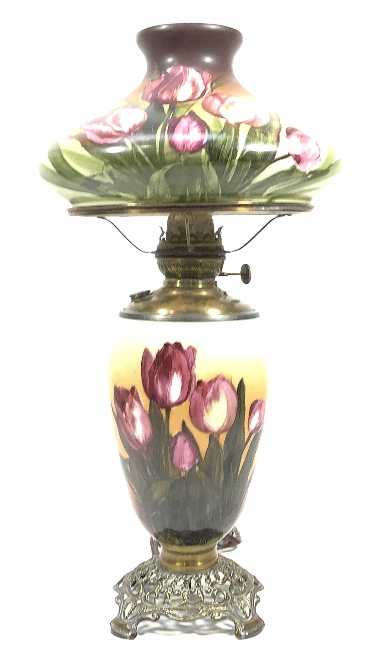 c.1890 Hand Painted Kerosene Table Lamp, Tulips