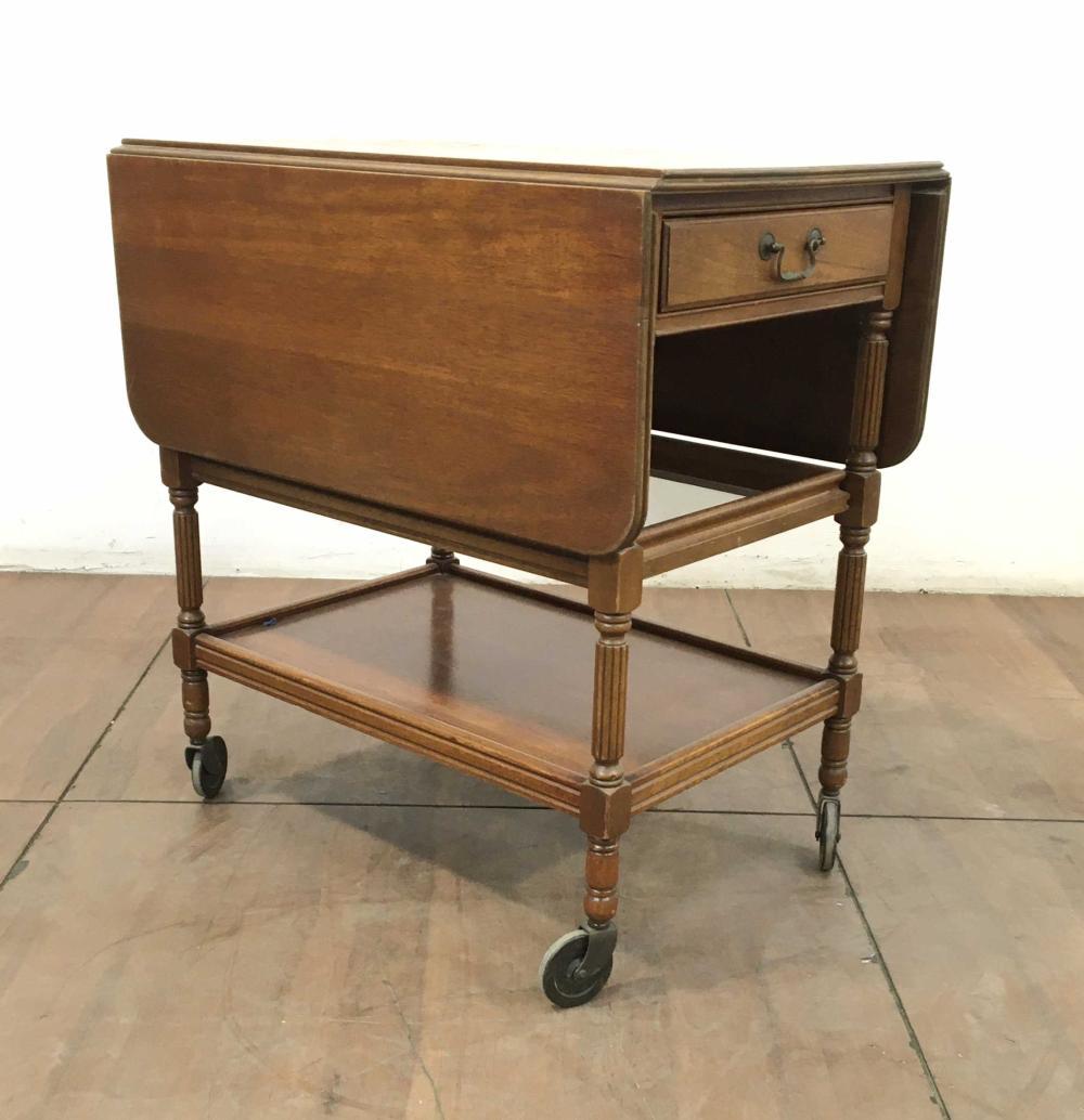Vintage Cherrywood Drop Leaf Rolling Serving Cart