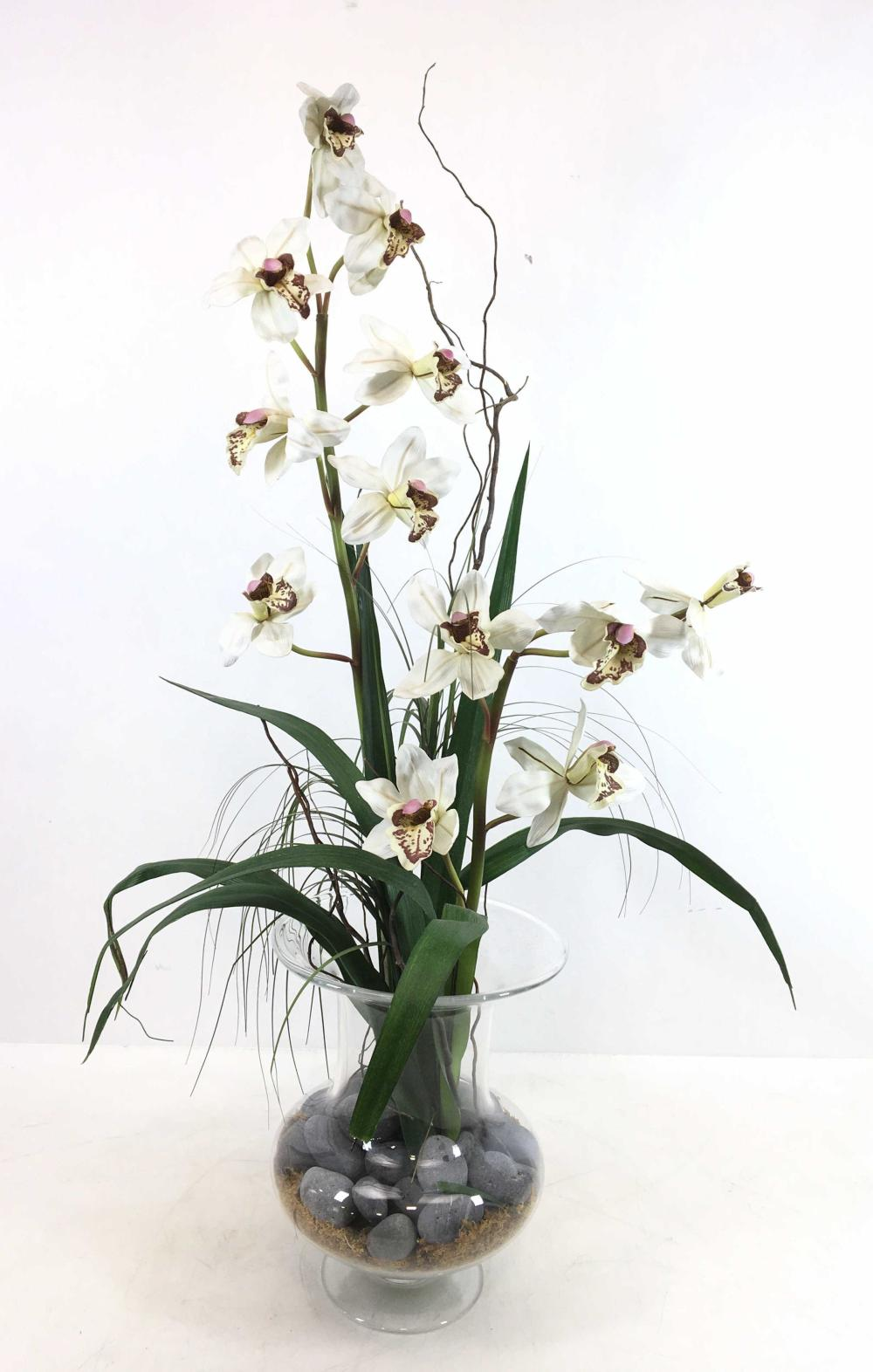 Contemporary Faux Potted Flowers & Glass Vase